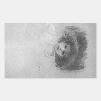 Imagen del pecho de un niño de Gustavo Klimt Pegatina Rectangular