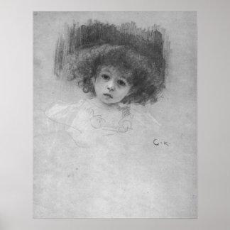 Imagen del pecho de un niño de Gustavo Klimt Póster