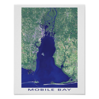 Imagen del satélite de Alabama de la bahía móvil Póster