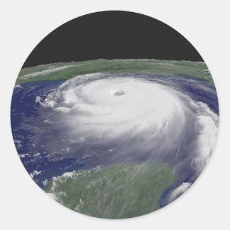 Imagen del satélite de Katrina del huracán Pegatina Redonda