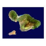 Imagen del satélite de Landsat de Maui del espacio Tarjetas Postales