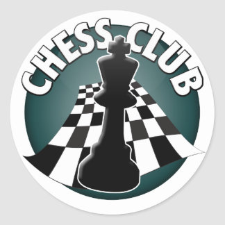 Imagen del tablero de ajedrez del jugador de club pegatina redonda