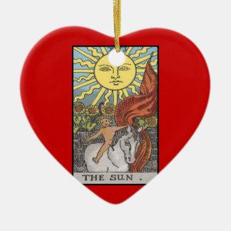 Imagen del tarot de la tarjeta de The Sun Adorno De Cerámica En Forma De Corazón