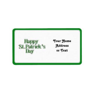 Imagen del texto del día de St Patrick feliz Etiqueta De Dirección