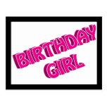 Imagen del texto del rosa del chica del cumpleaños tarjeta postal