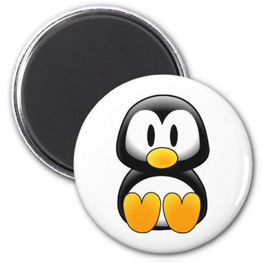 Imagen del tux del pingüino imán redondo 5 cm