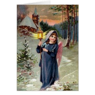 Imagen del vintage - ángel del navidad que enciend felicitación