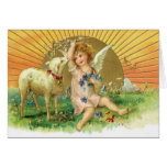 Imagen del vintage - ángel dulce y cordero tarjetas