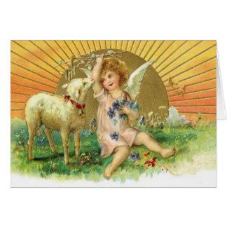 Imagen del vintage - ángel dulce y cordero tarjeta de felicitación