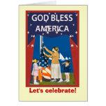 Imagen del vintage, aumentando la bandera felicitacion