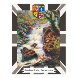 Imagen del vintage caídas del trago Snowdonia Tarjeta Postal