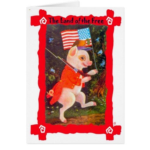 Imagen del vintage, cerdo patriótico tarjeta de felicitación