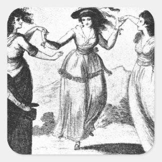 Imagen del vintage Criadas del baile Pegatinas Cuadradas Personalizadas