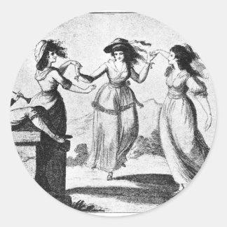 Imagen del vintage: Criadas del baile Pegatina Redonda