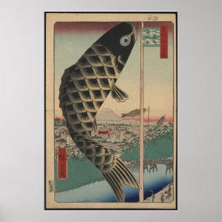 Imagen del vintage de la cometa japonesa de la car póster