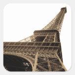 Imagen del vintage de la torre Eiffel Calcomanias Cuadradas