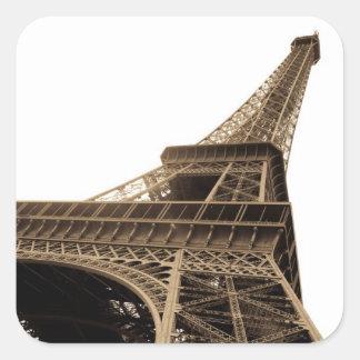 Imagen del vintage de la torre Eiffel Pegatina Cuadrada