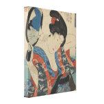 Imagen del vintage del espejo de mano japonés de s impresion de lienzo