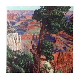 Imagen del vintage del paisaje del Gran Cañón Azulejos
