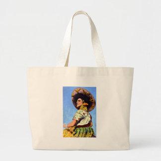 Imagen del vintage del Senorita en atuendo tradici Bolsa De Mano