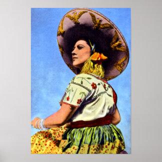Imagen del vintage del Senorita en atuendo tradici Póster