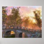 Imagen del vintage, Delft, puente sobre un canal Poster