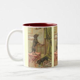 Imagen del vintage - el retrato del perrito taza de dos tonos