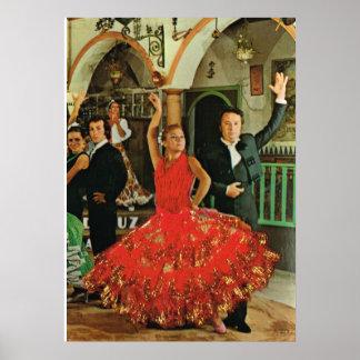 Imagen del vintage, España, bailarines del flamenc Póster