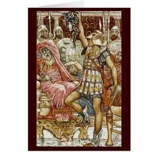 Imagen del vintage - Perseus que entrega la cabeza Tarjeta De Felicitación