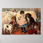 Imagen del vintage - petición de los perros posters
