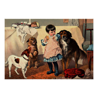 Imagen del vintage - petición de los perros póster