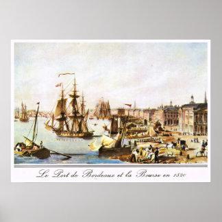 Imagen del vintage, puerto de Burdeos, 1820 Póster