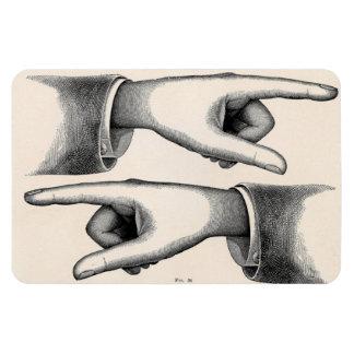 Imagen del vintage que señala el imán de las manos