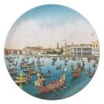 Imagen del vintage, regatta 1910 de Venecia Platos De Comidas
