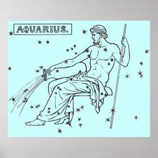 Imagen del vintage - zodiaco - acuario póster