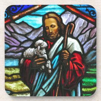 Imagen del vitral de Jesús y de corderos Posavaso
