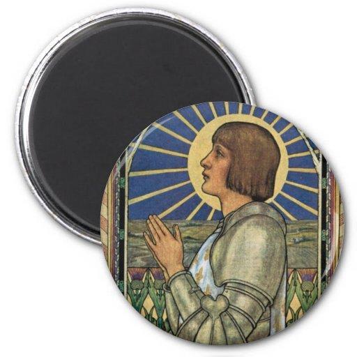 Imagen del vitral de Juana de Arco del santo Imán De Frigorifico