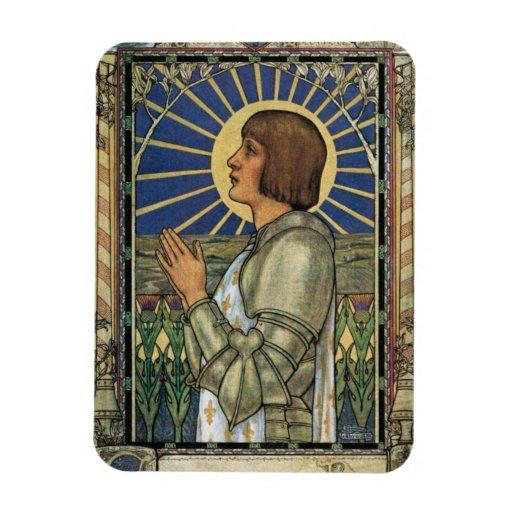 Imagen del vitral de Juana de Arco del santo Iman Rectangular