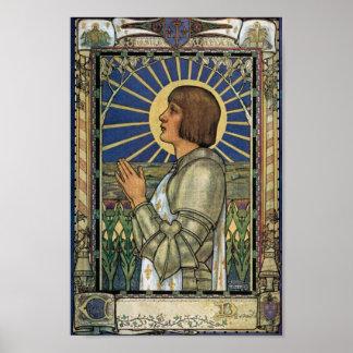 Imagen del vitral de Juana de Arco del santo Póster