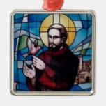 Imagen del vitral de St Francis con la paloma Adornos
