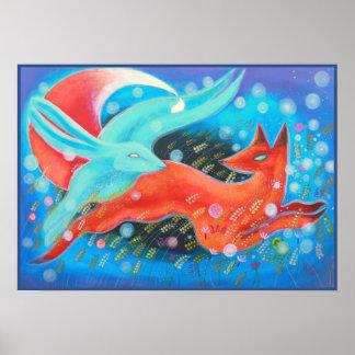 Imagen del zorro de los animales, de A y de una li Impresiones