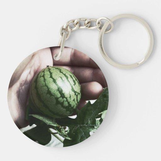 Imagen disponible de la fruta de la sandía del llavero redondo acrílico a doble cara