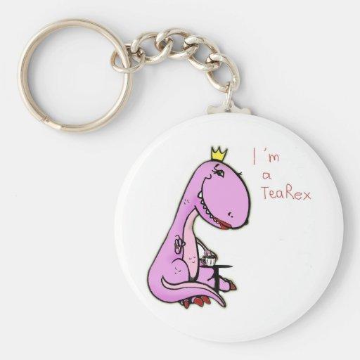 imagen divertida de un dinosaurio rosado TeaRex Llavero Personalizado