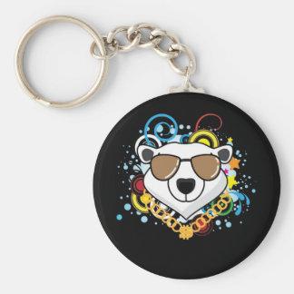 Imagen divertida del oso polar del hip-hop llaveros personalizados