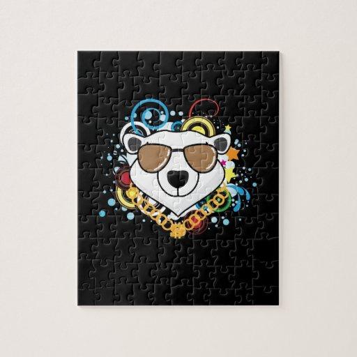 Imagen divertida del oso polar del hip-hop puzzles con fotos