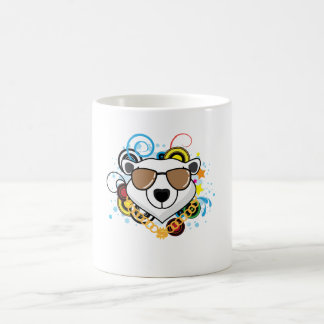 Imagen divertida del oso polar del hip-hop taza de café