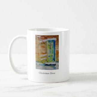 Imagen dual taza de café de la puerta del navidad