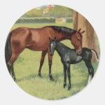 Imagen ecuestre del vintage del potro de la yegua  pegatina redonda