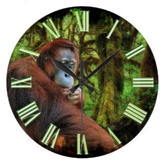 Imagen en peligro del orangután y del primate de reloj redondo grande