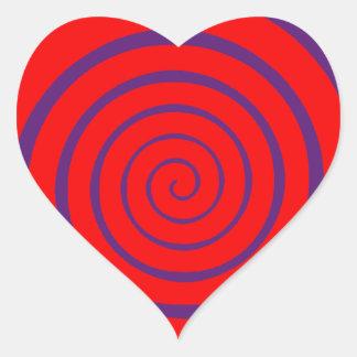 imagen espiral hipnótica roja pegatina en forma de corazón